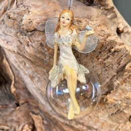 Χριστουγεννιάτικo Στολίδι Γυαλινη Μπάλα Κεραμικός Άγγελος Πουλάκι 6*12εκ