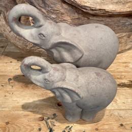 Διακοσμητικός Ελέφαντας Πέτρινος Γκρι Σετ 26εκ & 19εκ