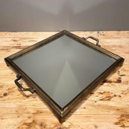 Δίσκος Διακοσμητικός Καθρέφτη Τετράγωνος Χρυσός - Μπρονζέ Μεταλλικός 44*38εκ