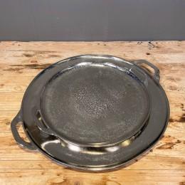 Δίσκος Διακοσμητικός Ασημένιος Μεταλλικός Αλουμινίου Στρογγυλός Χερούλια Σετ 49εκ & 37εκ