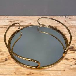 Δίσκος Διακοσμητικός με Καθρέφτη Χρυσός Μεταλλικός Στρογγυλός 30*8εκ
