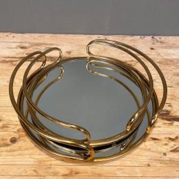 Δίσκος Διακοσμητικός με Καθρέφτη Χρυσός Μεταλλικός Στρογγυλός Σετ 36εκ & 30εκ