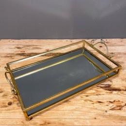 Δίσκος Διακοσμητικός με Καθρέφτη Χρυσός Μεταλλικός Ορθογώνιος 43*25εκ