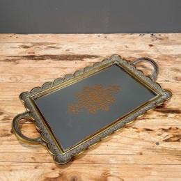 Δίσκος Διακοσμητικός με Καθρέφτη Κεραμικός Χρυσός 43*24εκ