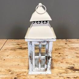Φανάρι Διακοσμητικό Λευκό Ξύλινο Μεταλλικό Καπάκι 15*40εκ