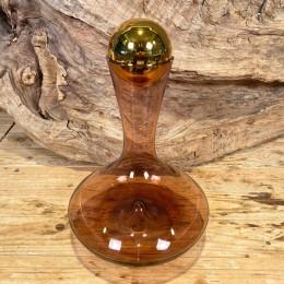 Καράφα Κρασιού Γυάλινη Μωβ Χρυσό Πώμα 28εκ
