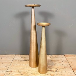 Κηροπήγιο Διακοσμητικό Μεταλλικό Χρυσό Κωνικό Σετ 19*82εκ 16*63εκ