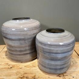 Βάζο Δαπέδου Διακοσμητικό Μεταλλικό Αποχρώσεις Γαλάζιο Γκρι Μόκα Σετ 37εκ & 31εκ X