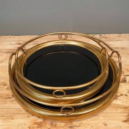 Δίσκος Γάμου Καθρέφτη Μαύρο Χρυσός Μεταλλικός Σετ 45εκ &37εκ