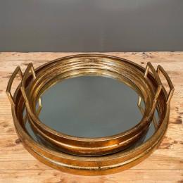 Δίσκος Γάμου Καθρέφτη Χρυσός Μεταλλικός Στρογγυλός Σετ 46εκ & 38εκ