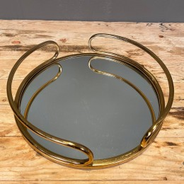Δίσκος Γάμου με Καθρέφτη Χρυσός Μεταλλικός Στρογγυλός 36*8εκ