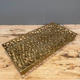 Δίσκος Γάμου Χρυσός Μεταλλικός Διάτρητος Λεοπάρδαλη 46*24εκ