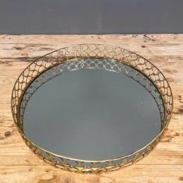 Δίσκος Γάμου με Καθρέφτη Χρυσός Μεταλλικός Στρογγυλός Κύκλοι 35*6εκ