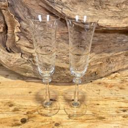 Ποτήρι Γάμου Σαμπάνιας Σετ Κρυστάλλινο Χρυσή Ρίγα Σχέδιο Λουλουδάκια 7*25εκ