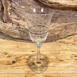 Ποτήρι Γάμου Κρασιού Κρυστάλλινο Ασημένια Ρίγα Σχέδιο Λουλουδάκια 9*21εκ