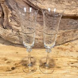 Ποτήρι Γάμου Σαμπάνιας Σετ Κρυστάλλινο Ασημένια Ρίγα Σχέδιο Λουλουδάκια 7*25εκ