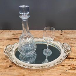 Σετ Γάμου Δίσκος Καθρέφτη 46*32εκ Κρυστάλλινη Καράφα & Ποτήρι