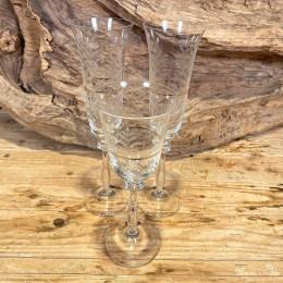 Σετ Γάμου Ποτήρια Κρασιού & Σαμπάνιας Κρυστάλλινα Χρυσή Ρίγα Σχέδιο Λουλουδάκια