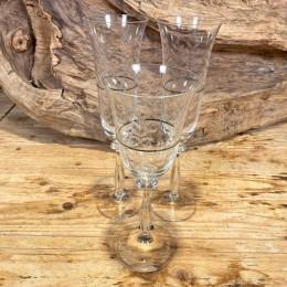 Σετ Γάμου Ποτήρια Κρασιού & Σαμπάνιας Κρυστάλλινα Ασημένια Ρίγα Σχέδιο Λουλουδάκια