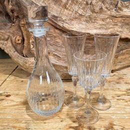 Σετ Γάμου Καράφα Ποτήρια Κρασιού & Σαμπάνιας Κρυστάλλινα Ρίγες 12*32εκ