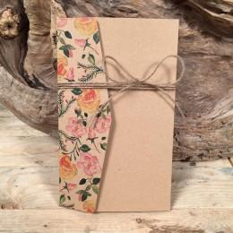 Προσκλητήριο Γάμου Τρίπτυχος Φάκελος Χαρτί Craft Vintage Στυλ 22*13.5
