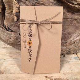 Προσκλητήριο Γάμου Τρίπτυχος Φάκελος Χαρτί Craft Διακόσμηση Λουλούδια 22*13.5
