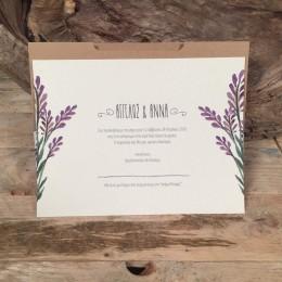 Προσκλητήριο Γάμου Συρταρωτός Φάκελος Craft Πρόσκληση Λιλά Λουλούδια 22*16