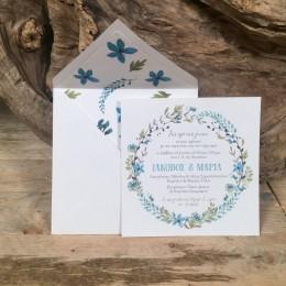 Προσκλητήριο Γάμου Τετράγωνος Ιβουάρ Φάκελος Τύπωμα Λουλούδια 16.5*16.5