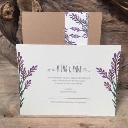 Προσκλητήριο Γάμου Συρταρωτός Φάκελος Craft Τρέσα Τύπωμα Λιλά Λουλούδια 22*16