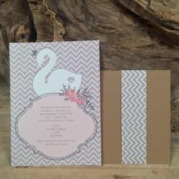 Προσκλητήριο Γάμου Συρταρωτός Φάκελος Craft Τρέσα Τύπωμα Ροζ Γκρι 22*16
