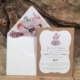 Προσκλητήριο Γάμου Φάκελος Λευκός Φόδρα Λουλούδια & Πούπουλα 22*17