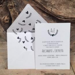 Προσκλητήριο Γάμου Φάκελος Λευκός Φόδρα Μαύρες Καρδιές & Φύλλα 22*17