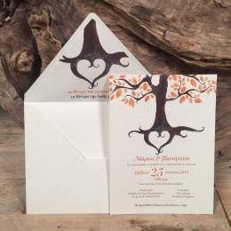 Προσκλητήριο Γάμου Φάκελος Λευκός Φόδρα Δέντρο Ζωής 22*17
