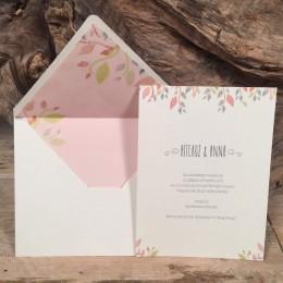 Προσκλητήριο Γάμου Φάκελος Λευκός Ροζ Φόδρα Φύλλα 22*17