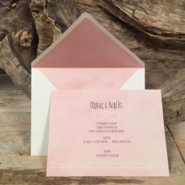 Προσκλητήριο Γάμου Φάκελος Ιβουάρ & Ροζ Φόδρα 22*17
