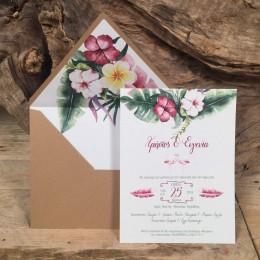Προσκλητήριο Γάμου Φάκελος Craft Φόδρα Τύπωμα Λουλούδια 22*17