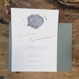Προσκλητήριο Γάμου Γκρι Φάκελος Πρόσκληση Γκρι & Χρυσές Λεπτομέρειες 22*17