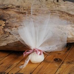 Μπομπονιέρα Γάμου Τούλινη Δέσιμο Σάπιο Μήλο Σατέν Κορδέλα Δαντέλα