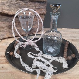 Σετ Κουμπάρου Μεταλλικός Δίσκος Καράφα & Ποτήρι Vintage Στέφανα Γάμου