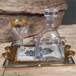 Σετ Γάμου Φλωρεντιανός Δίσκος Ποτήρι Καράφα Ασημένια Επιχρυσωμένα Στέφανα