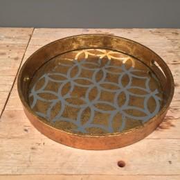 Δίσκος Γάμου Vintage Στρογγυλός Χρυσός Καθρέφτη 38εκ