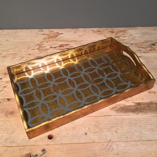 Δίσκος Γάμου Vintage Ορθογώνιος Χρυσός Καθρέφτη 40*25εκ