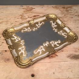 Δίσκος Γάμου Ξύλινος Φλωρεντιανός Χρυσό Ασημί 36*27