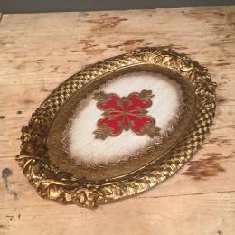Δίσκος Γάμου Ξύλινος Φλωρεντιανός Χρυσό Λεπτομέρεια Κόκκινο 37*26εκ