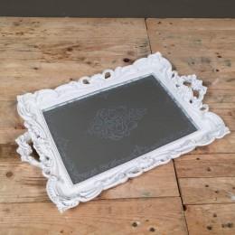 Δίσκος Γάμου Vintage Ορθογώνιος Καθρέφτη Λευκός