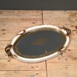 Δίσκος Γάμου Vintage Λευκός Χρυσό Σχέδιο Καθρέφτη