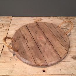 Δίσκος Γάμου Ξύλινος Χερούλια Φυσικό Σχοινί 39εκ