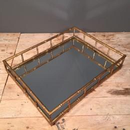 Δίσκος Γάμου Ορθογώνιος Μεταλλικός Χρυσός Καθρέφτη 42*33εκ