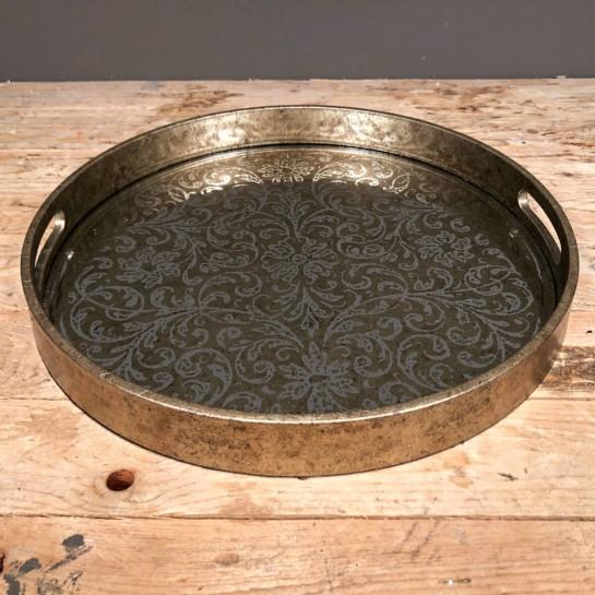 Δίσκος Γάμου Ξύλινος Στρογγυλός Καθρέφτη 46εκ