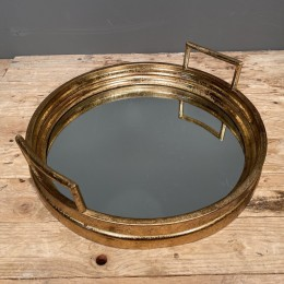 Δίσκος Γάμου Καθρέφτη Χρυσός Μεταλλικός Στρογγυλός 38*11εκ